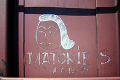 MATOKIE S. (TRUE 2 DEATH) Tags: railroad portrait streetart art train graffiti tag graf meta trains railcar ms spraypaint boxcar railways hobo railfan freight margaretkilgallen freighttrain rollingstock mslaughter moniker hobotag hobomoniker benching matokieslaughter 61597 freighttraingraffiti matokies