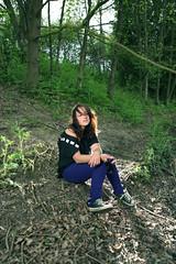 Strobist shot in the woods (MARJOLEINTHIJSE.com) Tags: park trees summer woman brown green girl grass rock lady canon hair woods mark emo ii converse indie 5d chucks 2470mm strobist