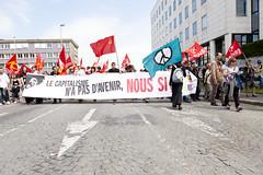 Anti-G8 Protest (22) -  21May11, Le Havre (France) (°]°) Tags: blue red love word rouge peace flag crowd banner protest bleu communist demonstration future arrow foule capitalism anti manifestation g8 drapeau avenir peaceandlove lehavre communiste antig8 bannière banderole capitalisme flâche