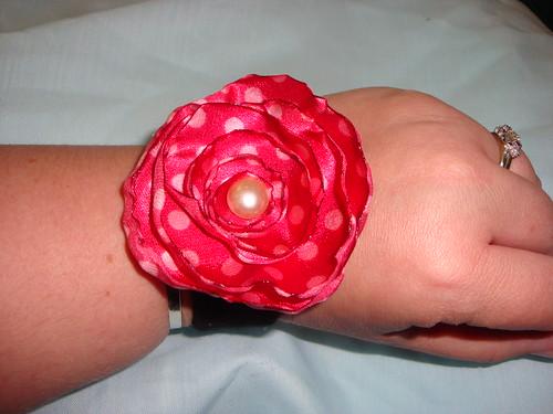 Satin flower bracelet #2