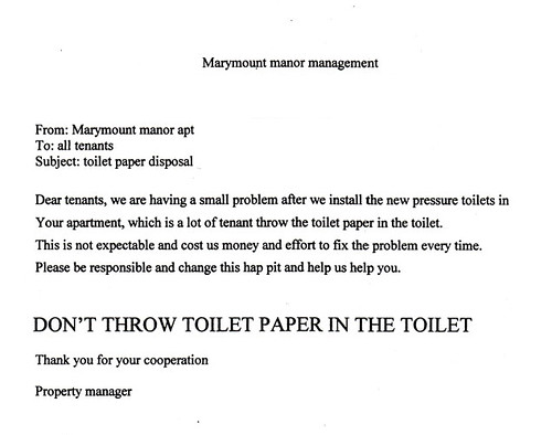 DON'T THROW TOILET PAPER IN THE TOILET