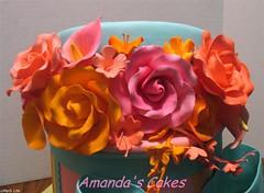 Linda's 65th Birthday Cake (mandotts) Tags: pink orange green teal gifts hatbox presentcake sugarflowers impressedbeauty ultimateshot ladiesbirthdladiesbirthdaycake