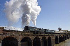 Tangmere (Golden Arrow) on the Folkestone Harbour Viaduct for the last time. (Or Maybe not!) (Smudge 9000) Tags: uk steam 2008 steamtrain goldenarrow tangmere 34067 uksteam folkestoneharbour