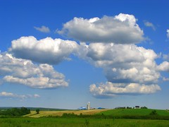 "June 20 - ""Happiest day of the Year"" (Nancy Rose) Tags: sky sunshine clouds barn rural landscape view cows farm silo fields crops soe supershot abigfave"