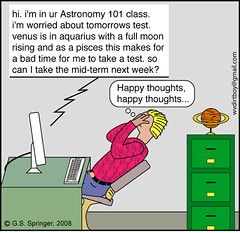Astronomy versus Astrology (g.s.springer) Tags: moon silly college student funny university comic greg drawing dumb cartoon science email class course teacher stupid physics astronomy springer draw toon professor aquarius gregory pisces horoscope astrology scientist astrophysics astronomer