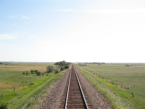 Plains of Alberta from the rear observation deck, Mount Stephen car, Royal Canadian Pacific