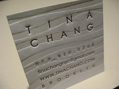 Tina Chang Letterpress Business Card (closeup)