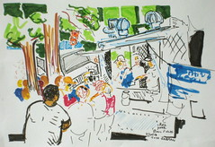 Waiting for Food at the Red Hook Ballfields (Todd Berman) Tags: brooklyn drawing waitinginline foodtruck travelart brooklynnewyork redhookballfields toddberman theartdontstop ephemerratic papusaria rtwart