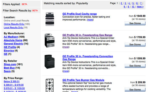 GE range search results