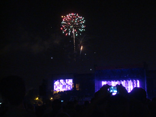 Fireworks during Radiohead