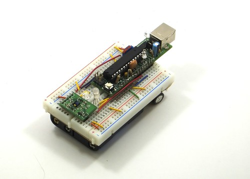The ADJD with Buardino on the breadboard