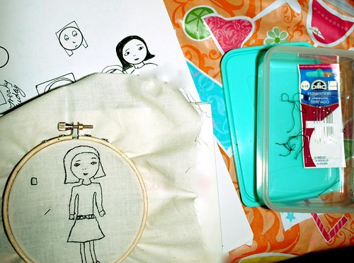 trying some embroidery with sketches..