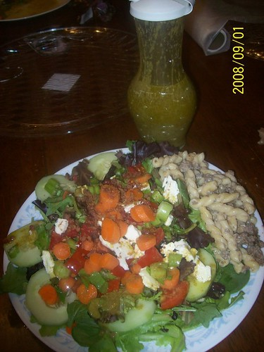 A combined creation, Paul and Sal's salad and beef stroggi.