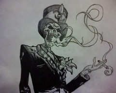 Gun Candy (Prince Ink) Tags: pencil comics skull drawing smoke tuxedo tophat tux theride guncandy rvd1513 princeink