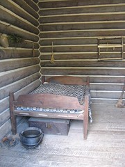 A real bed, although it is small by today's standards (debstromquist) Tags: beds kentucky ky parks richmond forts cabins danielboone replicas historicalsites logcabins sleeptight ropebeds kyhistory fortboonesboro strd627 boonesborord