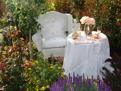 In my secret garden (THE HOUSE IN THE ROSES) Tags: table linen secretgarden gardentable puredelight fairygarden linentablecloth awayinthegarden thehouseintheroses
