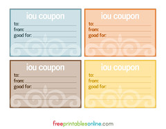 Multi-Colour Flourish IOU Cards to print
