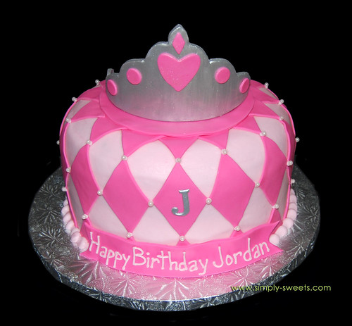 Pink tiara birthday cake with diamond pattern