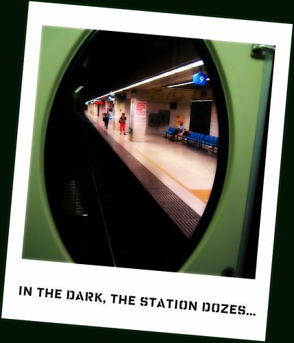 In the dark, the station dozes...