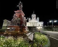 Alexander II in the night (Rob Orthen) Tags: church statue night suomi finland helsinki nikon europe cityscape rob tokina explore helsingfors scandinavia dri kirkko tuomiokirkko d300 suurkirkko dynamicrangeincrease exposureblending photomatix 1116 orthen vertorama roborthenphotography tokina1116 tokina1116mm28 aleksaderii