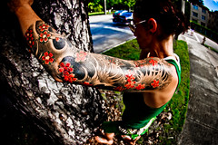 Fresh  3/4 Sleeve (eyecbeauty) Tags: street pink red woman black green feet girl grass tattoo ink asian blood miami side wide fresh fisheye bark sleeve top20fisheye cherrybloosom anawesomeshot photographerswharf exploredbeauty