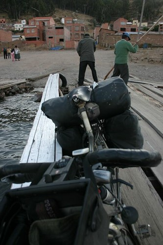 The Koga on the raft. Tiquina, Bolivia.