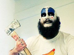 just another day at the office. (solecism) Tags: halloween costume axe travis robzombie officelife houseof1000corpses theaxeeffect captainspaulding captainspalding