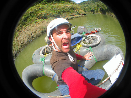 It floats! (Floating 30km down the Whanganui River in Whanganui National Park, New Zealand on a home made raft with bicyle attached)