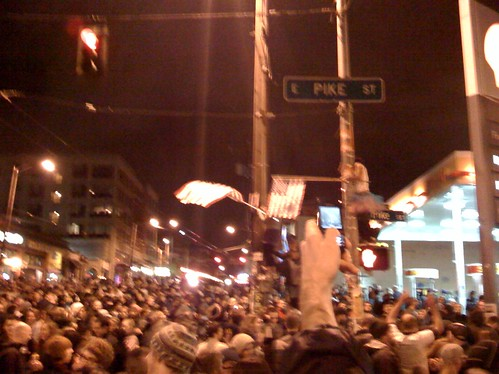 Big party at Broadway and Pike!
