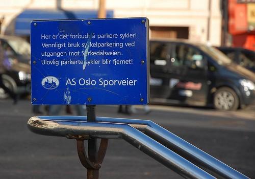 Her er det forbudt å parkere sykler!