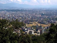 Zooming a bit... (Rosa Gamboias) Tags: city nepal sky mountains clouds landscape view panoramic paisagem cu kathmandu montanhas panormica nvens swayambhunathtemple