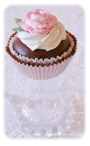 Faux Chocolate Cupcake with Faux Buttercream Piped Rose