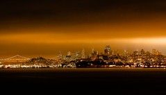 San Francisco glow. (Ian McWilliams.) Tags: sanfrancisco bridge sky orange usa love night scrapers lights glow macaz1977