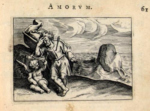 008 MIhi nulla quiers, ut lapisquoris undique pulsus aquis-Cupido y un amante afectado por una flecha a la orilla del mar