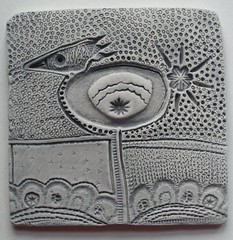 new work ~ small clay tile (Highland Fairy) Tags: bird art texture tile heidi pattern highland fairy clay stamping soos