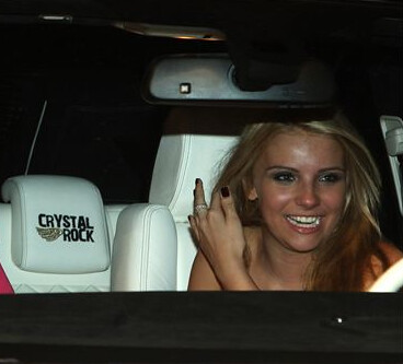 Crystal Rock in her new Range Rover from Christian Audigier