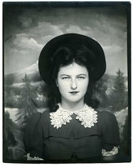 2008 Top One Hundred Countdown # 18: Young Woman In A Photobooth (mrwaterslide) Tags: old hat vintage intense photobooth lace antique muscular oldphoto vernacular collar brava youngwoman direct composed pinchers formidable williamgolding