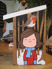 Bird Box 5 (Hammotime) Tags: birthday boy snow bird girl robin illustration forest bluetit birdbox goldcrest hammo