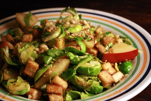 shredded brussels sprouts, apples, and tofu
