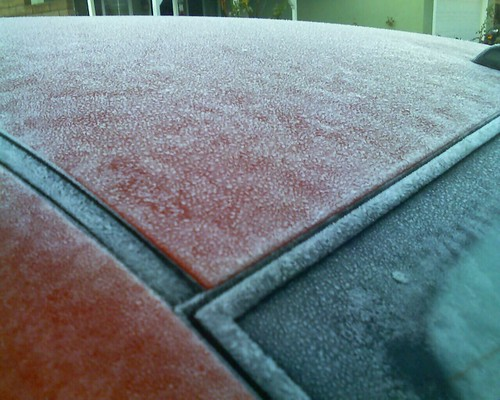Frost on my car in Moorpark