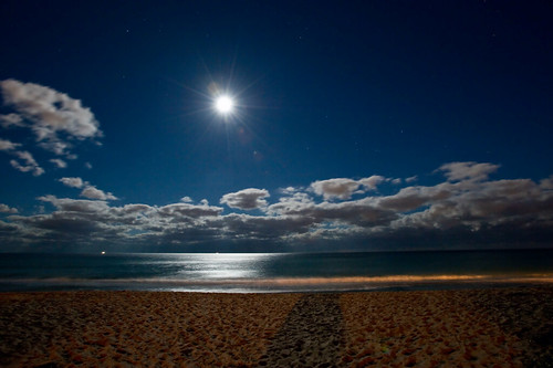 Palm Beach on a full moon night