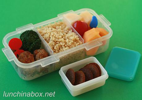 Couscous and ginger cookie bento lunch for preschooler