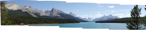 North shore of Maligne Lake, looking South