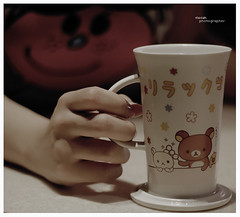 Good morning ~   (l ) Tags: morning pink cup smile hand coffe