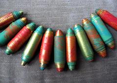Artisan Paper Beads: SALAMANDER (unglazed) by MoontreeStudios