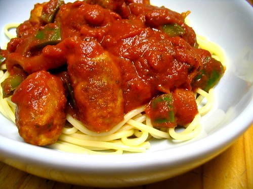 Cheater's spaghetti with meatballs