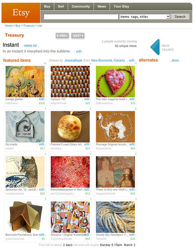 The first Etsy Treasury I curated