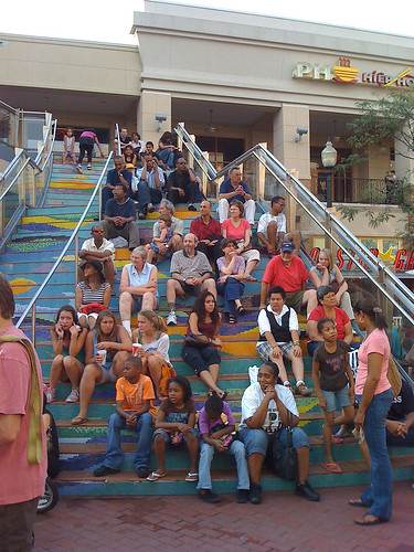 Watching an outdoor concert in Downtown Silver Spring - Taken With An iPhone