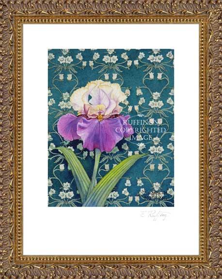 Tan and Purple Iris on Green by Elizabeth Ruffing Framed Print