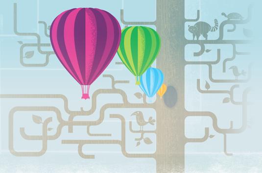 mozilla.com homepage: balloons & tree